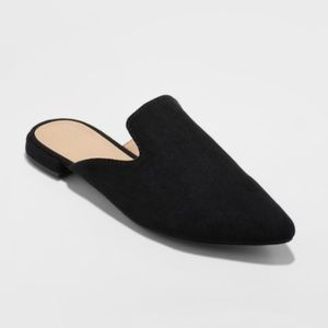 Black Velma Slip On Pointy Toe Mules
